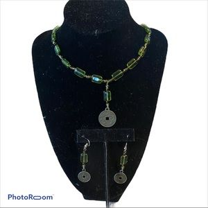 Green Chinese symbol dragon necklace earrings